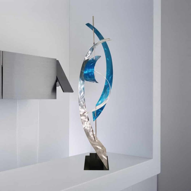 Contemporary Teal Abstract Sculpture