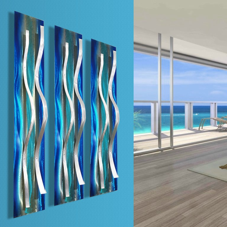 Contemporary Blue Metal Wall Sculptures