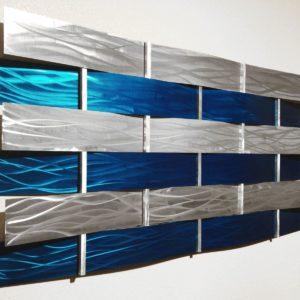 Modern Teal & Silver Wall Sculpture