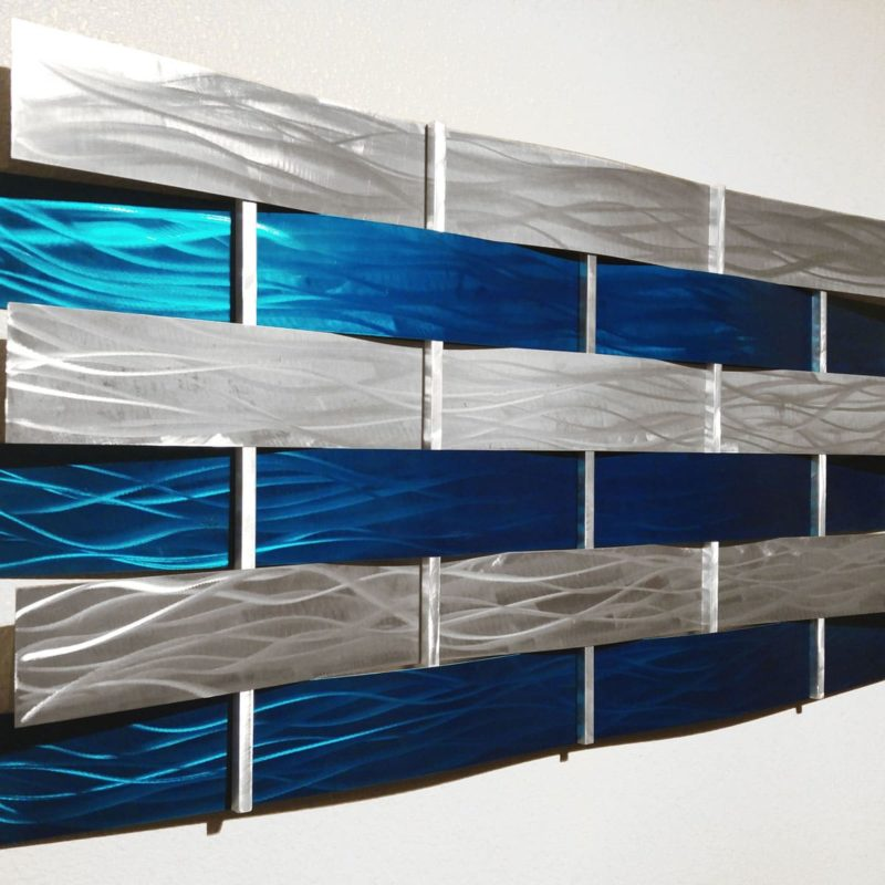 Modern Teal & Silver Wall Sculpture