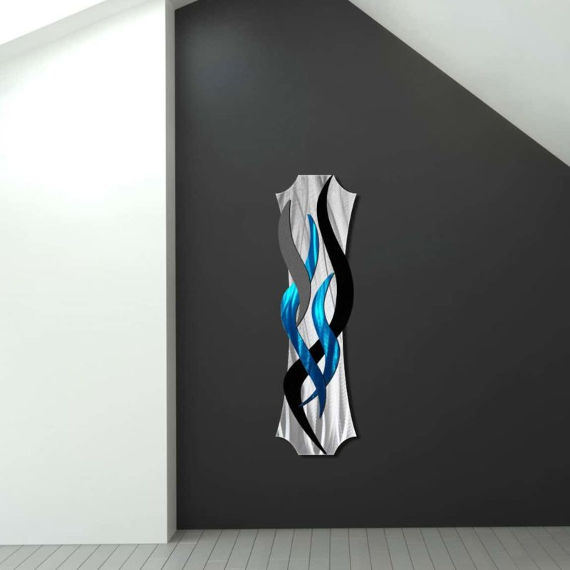Modern Teal Wall Sculpture