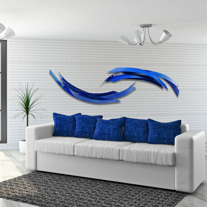 Large blue wall sculpture